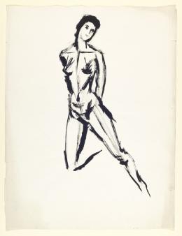 Fritz Berger, Stehender weiblicher Akt mit hinter den Körper geführten Armen und angewinkeltem rechten Bein, 1950er-Jahre Pinsel in Schwarz (Tusche) auf Papier, max. 635 x 488 mm  © Tiroler Landesmuseen