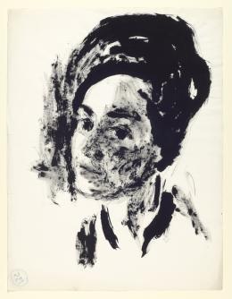 Fritz Berger, Bildnis einer Frau, 1950er-Jahre, Pinsel in Schwarz (Tusche) auf Papier, 634 x 486 mm  © Tiroler Landesmuseen