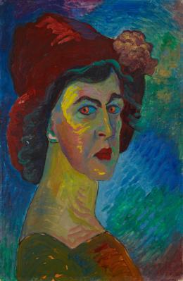 Marianne von Werefkin: Selbstbildnis, 1910. Tempera auf Papier auf Karton, 51 x 34 cm; Städtische Galerie im Lenbachhaus und Kunstbau München. Foto: Lenbachhaus