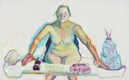 Maria Lassnig, Mehlspeisenmadonna, 2001/02, Öl auf Leinwand, 150 x 200 cm, Städtische Galerie im Lenbachhaus und Kunstbau München, Foto: Lenbachhaus © Maria Lassnig Stiftung