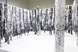 Gábor Koós, 20 year old forest, 2015, Rauminstallation: Holzschnitt auf Papier, Metallrahmen, Stahlseile, Holzboden, 300 x 450 x 450 cm, Foto: Peter Fabo