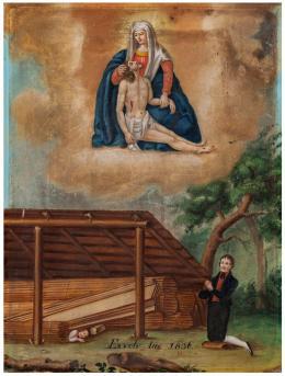 Votivbild, von einem Holzfäller aus Dank für die Genesung nach seinem Unfall gestiftet, Öl auf Holz, St. Arbogast, 1657