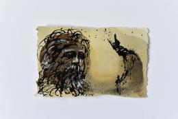 Genia Chef, Aventiure XIV, 873, Hagen überredet Gunther, Siegfried töten zu lassen, Mischtechnik auf Papier, 2020, 13 x 20,5 cm © Genia Chef