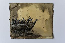Genia Chef, Aventiure XXV, 1572, Hagen steuert das Boot der Burgunder auf dem Weg zu König Etzel, Mischtechnik auf Papier, 2020, 18,5 x 23,5 cm  © Genia Chef