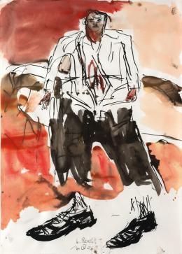 Georg Baselitz, 16.IV.06, Tusche, Aquarell auf Papier, Albertina, Wien – Dauerleihgabe der Sammlung Viehof © Georg Baselitz, 2021