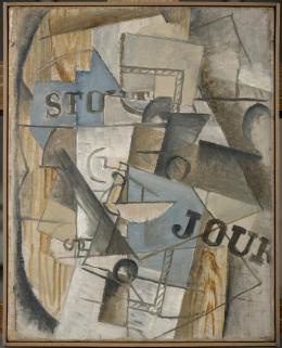 Georges Braque, Der Tisch der Bar Stout, 1912/13, Öl und Kohle auf Leinwand, 35,7 x 28,6 cm, Museum Ludwig, Köln © VG Bild-Kunst, Bonn 2021
