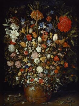 Jan Brueghel d. Ä. (1568–1625), Großer Blumenstrauß in einem Holzgefäß, 1606/07 © KHM-Museumsverband