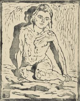 Giovanni Giacometti, Kniender Kinderakt von vorn. Ottilia, 1911, Holzschnitt, 24,9 x 20,1 cm, Kunsthaus Zürich, Legat Bruno Giacometti, 2012
