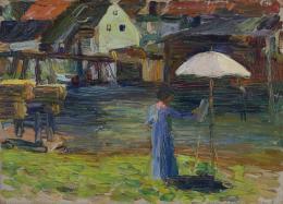 Wassily Kandinsky, Kallmünz – Gabriele Münter beim Malen I, Sommer 1903, Städtische Galerie im Lenbachhaus und Kunstbau München, Gabriele Münter Stiftung 1957
