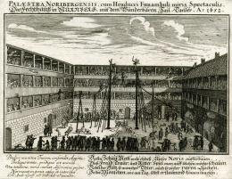 Johann Andreas Graff: Fechthaus mit Hochseilartisten, ohne Jahr. Bildnachweis: Museen der Stadt Nürnberg, Kunstsammlungen