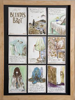 """Günter Brus, """"Blindes Brot"""", 1982,  Tusche, Ölkreide, Wasserfarben und Goldfarbe auf Papier, 50-teilig, je 24 x 16,5 cm, THP Stiftung, Foto: Universalmuseum Joanneum/N. Lackner"""