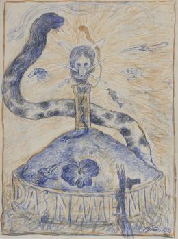 "Günter Brus, ""Das Namenlos"", 1975,  Farbstift auf Papier, 41-teilig, je 40 x 30 cm, Privatsammlung (Titelblatt), Foto: Universalmuseum Joanneum/Nikola Milatovic"
