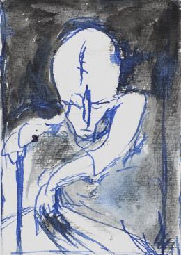 """Günter Brus, """"Die Qual"""", 2020,  Tusche und Kugelschreiber auf Papier, 9-teilig, je 21 x 15 cm, Privatsammlung, Foto: Universalmuseum Joanneum/Nikola Milatovic"""