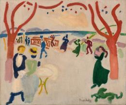 """Raoul Dufy, """"Les Passants"""", 1906–1907, Öl auf Leinwand, HxB: 46 x 55 cm, Kunstmuseum Basel- Dauerleihgabe aus Privatsammlung, Foto: Privatsammlung, © 2020, Pro Litteris, Zurich"""
