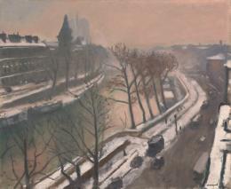 """Albert Marquet, """"Bords de la Seine à Paris en hiver, vue de l'atelier du peintre"""", um 1924, Öl auf Leinwand, HxB: 60 x 73 cm, Kunstmuseum Basel- Dauerleihgabe, Foto: Privatsammlung."""
