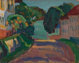 "Gabriele Münter, ""Griesbräu. Obere Hauptstrasse in Murnau"", 1908, Öl auf Pappe, HxB: 33 x 41 cm, KunsKunstmuseum Basel- Ankauf, © Foto: Kunstmuseum Basel"