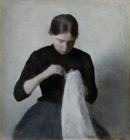 Vilhelm Hammershøi (1864–1916) Ein junges nähendes Mädchen, 1887 Öl auf Leinwand, 37 x 35 cm Ordrupgaard, Kopenhagen © Foto: Anders Sune Berg