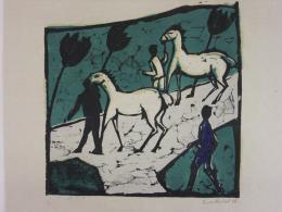 Heckel Erich 1883 - 1970, Weisse Pferde, 1912. Holzschnitt; Bündner Kunstmuseum Chur, Dauerleihgabe Sammlung Werner Coninx