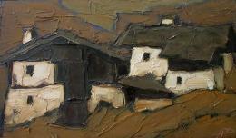 "Herbert Danler ""Hofgruppe"", 80iger Jahre, Öl auf Holz, 28 x 48 cm, (c) Galerie Hartl, Wien/AT"