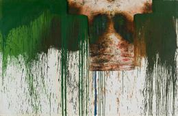 Hermann Nitsch Schüttbild mit Malhemd, 1989 Öl auf weißgrundierter Jute und Baumwollstoff Duerckheim Collection © Bildrecht, Wien, 201