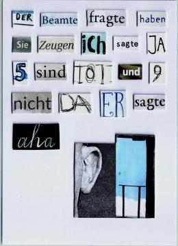 Herta Müller, Ohne Titel, 2020, Papiercollage, 14.8 × 10.5 cm, Foto: Jörg von Bruchhausen