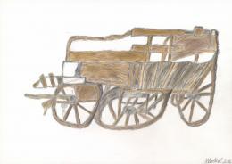 Helmut Hladisch, Leiterwagen, 2018,Bleistift, Farbstifte, 29,7 x 42 cm © Galerie Gugging