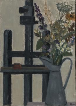 Rudolf Hradil - Stillleben, Öl auf Sackleinwand 90,5 x 64 cm (c) Galerie Welz