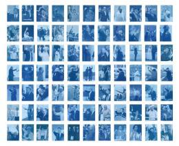 """Edgar Leciejewski, """"A Circle Full of Ecstasy"""", 2016, 77 Portraits von PolitikerInnen und Staatsoberhäuptern. Scans nach Cyanotypien, gesamt ca. 200x244cm"""