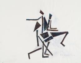 """Josef Pillhofer, """"Afrikanische Tänzer"""", 2004,  Gouache auf Papier, 48,7 x 62,7 cm, Privatbesitz, Foto: UMJ/N. Lackner, © Bildrecht Wien, 2021"""