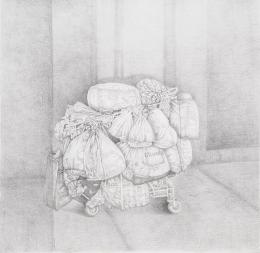 Judith P. Fischer, O.T. (Obdachlos), 2021, Bleistift auf Papier, 145 x 145 cm   Foto: Jorit Aust © Bildrecht, Wien 2021