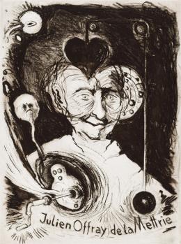 "Günter Brus, ""Julien Offray de la Mettrie"", 1989,  Lithografie, 2 Blatt, Blatt: je 66,5 x 50,5 cm, Druckplatte: je 40 x 29,5 cm, Privatsammlung, Foto: Universalmuseum Joanneum/N. Lackner"