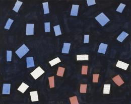 """Jürgen Partenheimer, """"The Back of Things, 100 Poets #62b-154, Lucie Brock-Broido"""", 2019 Tusche, Bleistift, Aquarell, auf Papier, Blattmass 27 x 34 cm © Jürgen Partenheimer"""