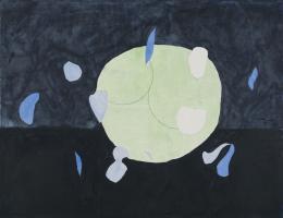 "Jürgen Partenheimer, ""Gathering Night, 100 Poets #65a-158, Alison Croggon"", 2019, Tusche, Bleistift, Aquarell, Collage auf Papier, Blattmass 46 x 60 cm © Jürgen Partenheimer"