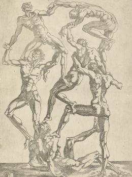 Juste de Juste, Menschenpyramide, 1540–1550, Radierung, Albertina, Wien
