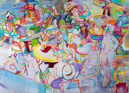 Gerlind Zeilner, K und andere Cowgirls, 2015 Eitempera, Öl auf Leinwand, 160 x 220 cm
