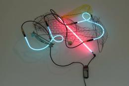 """Keith Sonnier, """"Bundle Pack Sagaponack Blatt Series"""", 2004, Neon, Umwandler und gefundene Objekte, 76.2 x 68.6 x 22.9 cm, Foto: © Caterina Verde"""