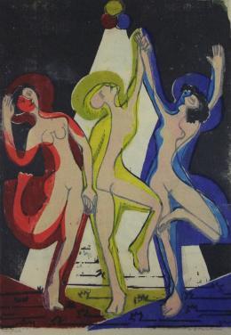 Kirchner Ernst Ludwig 1880 - 1938, Farbentanz, 1933. 8-Farben Holzschnitt; Bündner Kunstmuseum Chur, Dauerleihgabe Sammlung Werner Coninx