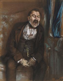 Adolph Menzel, Herr im Coupé, 1859, schwarze, weiße und farbige Kreiden, fixiert, auf braunem Vélinpapier, © Staatliche Museen zu Berlin, Kupferstichkabinett / Jörg P. Anders