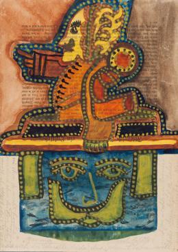 """August Klett, """"Was mir noch fehlte"""", 1917, Wasserfarben, Tinte, Bleistift auf Zeitschriftenpapier, 28,8 x 20,5 cm, Inv.-Nr. 556 © Sammlung Prinzhorn, Universitätsklinikum Heidelberg"""