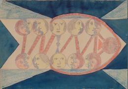 August Klett, Ohne Titel (Blatt 6), 1924, Kopierstift, Farbstifte, Deckfarben auf Zeichenpapier, 18 x 25,5 cm, Inv.-Nr. 582 © Sammlung Prinzhorn, Universitätsklinikum Heidelberg