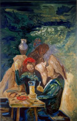 """Alfred Klinkan, """"Das Brouwerlied"""", 1985,  Öl auf Leinwand, Artothek des Bundes, Dauerleihgabe an die Neue Galerie Graz, Foto: J. Koinegg/Neue Galerie Graz"""