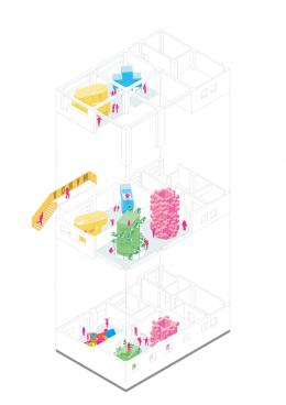Ausstellungskonzept - Axonometrie: Das aut wird durch 4 Türme transformiert. – © MVRDV