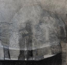 Anna M. Kramm, Black Trail, 2021, Graphit, Ölpastell auf Leinwand, 110 x 110 cm © Anna M. Kramm, Bildrecht, Wien 2021