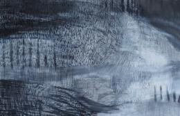 Anna M. Kramm, Forest track, 2021, Graphit, Pastellstift auf Leinwand, 100 x 150 cm © Anna M. Kramm, Bildrecht, Wien 2021
