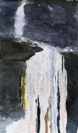 Gottfried Salzmann - Krimml I - 2019, Aqaurell, Acryl, Collage auf Leinwand, 100,3 x 59,7 cm  © Galerie Welz