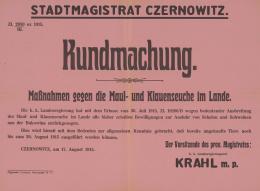 Kundmachung. Maßnahmen gegen die Maul- und Klauenseuche im Lande, Plakat, Stadtmagistrat Czernowitz, 1915 – © Österreichische Nationalbibliothek