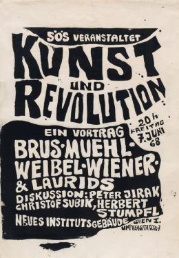 """Günter Brus, """"Kunst und Revolution"""", 1968,  Siebdruck auf Papier, 94,5 x 70 cm, Sammlung Ph. Konzett, Wien, Foto: Konzett Gallery/Erich Tarmann"""