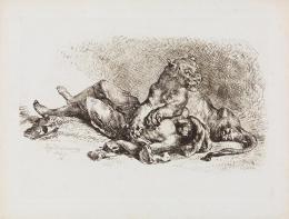 Eugène Delacroix: Löwin, die Brust eines Arabers zerreißend, 1849; Staatliche Kunsthalle Karlsruhe