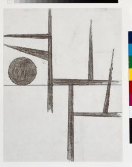 Die Welt liegt unter einem Baum, Helmut Federle, November 1980, Fettkreide, Bleistift, Kugelschreiber, Blatt: 27.8 x 21.6 cm (c) Kunstmuseum Basel- Ankauf Foto: Kunstmuseum Basel, Martin P. Bühler