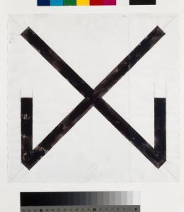Untitled, Helmut Federle, 1983, Tinte, Bleistift auf zwei vertikal zusammengesetzten Papierstücken (Streifen rechts 8,5cm), Blatt: 28.8 x 29.1 cm (c) Kunstmuseum Basel- Ankauf Foto: Kunstmuseum Basel, Martin P. Bühler